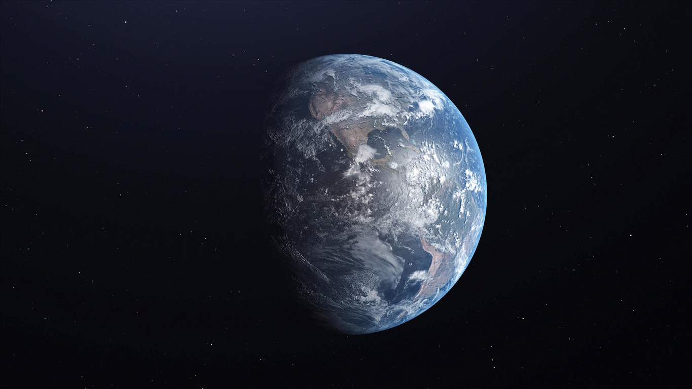 Ultra Realistic Earth from Space 3d illustration